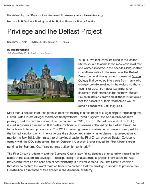 Privilege and the Belfast Project1