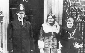 Marian Price and Dolours Price photographed outside Downing Street. Date unknown but the pair would return to London in 1973 in very different circumstances, ferrying three car bombs to the city centre.