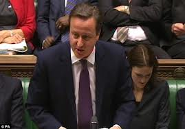 British prime minister, David Cameron tells the House of Commons the results of De Silva's review. He reneged on a promise by Tony Blair to set up a public inquiry.