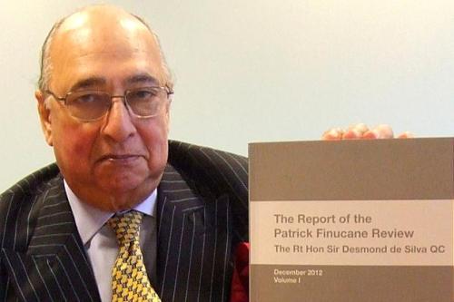 Sir Desmond de Silva with his Review of the Pat Finucane killing