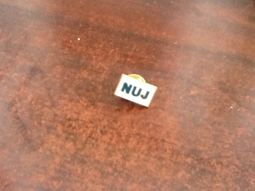 Proof of my lifetime membership of the NUJ, the union pin presented to me in 1999