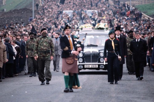 Sands' funeral cortege winds through streets of Nationalist West Belfast