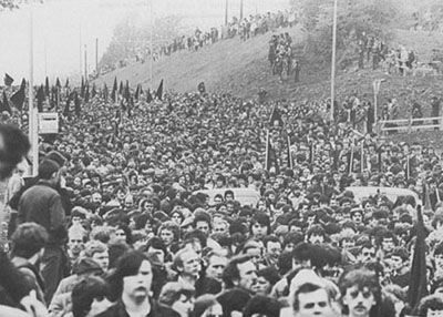 A section of the vast crowd that attended Bobby Sands' funeral in West Belfast in May 1981