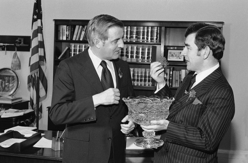Sean Donlon on St Patrick's Day, Washington DC meeting VP Walter Mondale - note the vase of shamrock