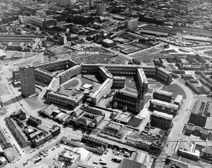 A British military photo of the Divis Flats complex circa 1972/73