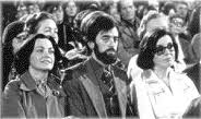 Ciaran McKeown in his Peace People days, flanked on his right by Mairead Corrigan and on right by Betty Williams