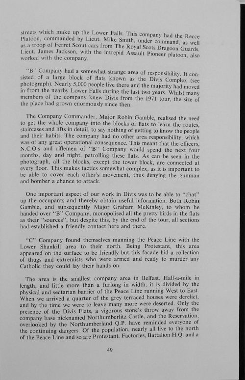 Extract on Royal Green Jackets tour of Divis Flats in 1973, between eight and twelve months after Jean McConville's disappearance