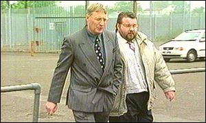 Clifford Peeples, on the right, leaves Long Kesh with Pastor Kenny McClinton