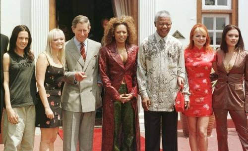 A revolutionary tamed? Mandela with Prince Charles and The Spice Girls
