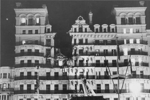 The Grand Hotel, Brighton in the aftermath of the 1984 bombing attack against Margaret Thatcher's cabinet