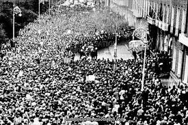 A huge crowd gathered outside the British embassy in Merrion Square, Dublin to protest at the Bloody Sunday killings