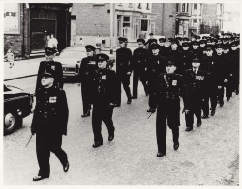 The 'B' Specials were disbanded in 1970. Here some of their number are marching to a demobilisation ceremony at St Anne's Cathedral, Belfast