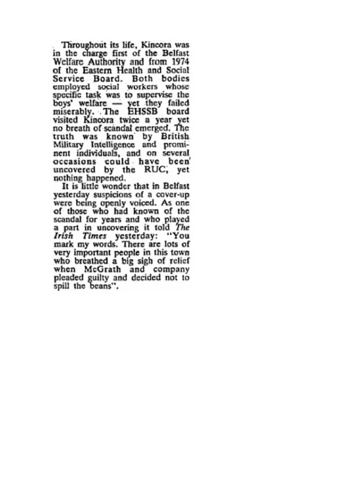And the Unionist establishment knew. After all WIlliam McGrath was one of their own. Irish Times, December 17th, 1981
