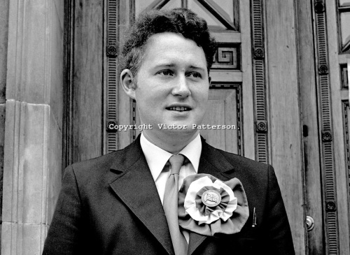 Clifford Smyth, standing as a DUP election candidate for a Sunningdale Assembly seat in North Antrim, Ian Paisley's bailiwick, 1973.