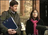 Lena Ferguson with former BBC colleague Alex Thomson pictured outside Stormont Castle