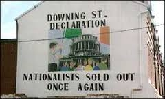 This mural, which reflected the real mood of grassroots Provos, appeared on the Falls Road in the wake of the Declaration but it was soon painted over.