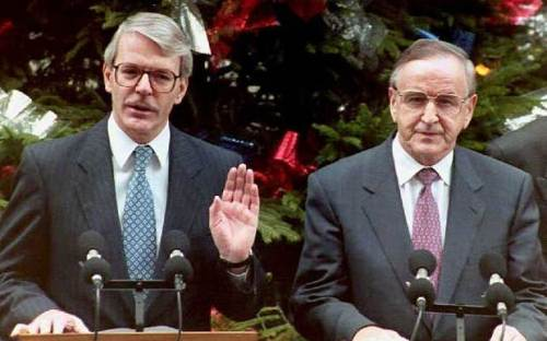John Major and Albert Reynolds address the media outside Downing Street on the day the Declaration was published