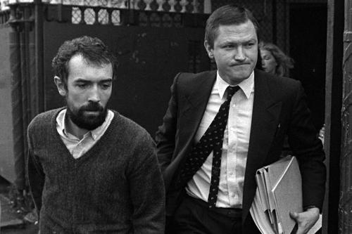 This is the photograph of Pat Finucane (right) which UDA intelligence chief and British Army agent Brian Nelson supplied to the UDA gang that shot the lawyer dead in his home in 1989. The figure on the left is the late Pat McGeown, a client and a senior figure in the IRA and Sinn Fein