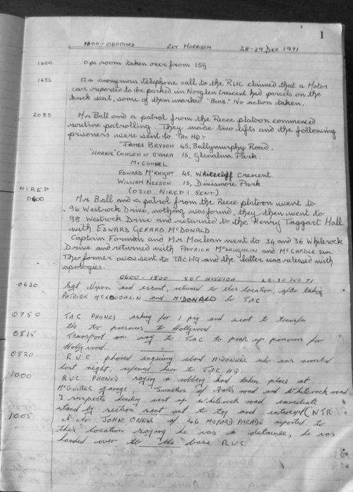 This is a page from a Watchkeeper's Diary compiled in the operations room of the Kings Own Scottish Borderers, then stationed in Ballymurphy