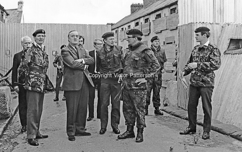 Secretary of State for N Ireland, William Whitelaw, visits British troops serving in Derry. Major General Robert Ford, Commander of Land Forces accompanied him. The no-go areas of Derry were the focus of his trip and pressure from the UDA would force Whitelaw to take action against them