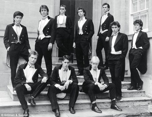 The Bullingdon Bullies at Oxford. Boris is seated far right (where else?) and Cameron is back row