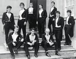 Cameron, standing second from left, with his Bullingdon buddies at Oxford