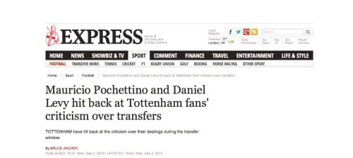 Echoing Daniel Levy, this is what he said today