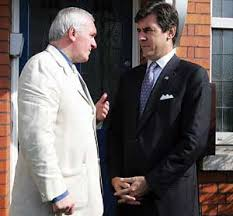 US peace envoy Mitchell Reiss (right) chats with former Irish Taoiseach, Bertie Ahern. Reiss revealed that Gerry Adams wanted to retain guns to use against dissidents