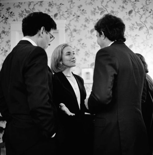Hillary Clinton, then First Lady, meets new British Labour leader Tony Blair (right) at a reception in the home of SIdney Blumenthal (left)