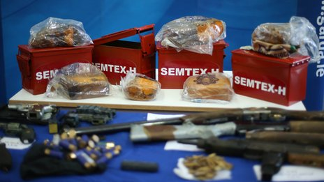 Some of the 'sophisticated' weapons the Gardai say has been acquired by dissident republicans. I am no expert, but the wrapped Semtex looks a bit ropy to me.......