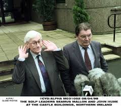 Seamus Mallon and John Hume meet the media during the Good Friday talks