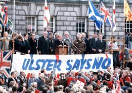 Unionist leaders address a huge protest rally against the Hillsborough deal outside Belfast City Hall