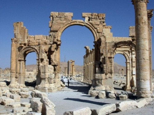 The arch of triumph at Palmyra, destroyed by ISIS