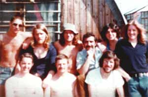 Gerry Adams, in Long Kesh seated (far right) with Brendan Hughes to his right and Bobby Sands to his left (both standing)