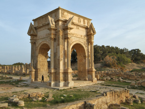 Arch of Septimus Severus, Roman consul who made Leptis Magna one of the great cities of the Roman empire