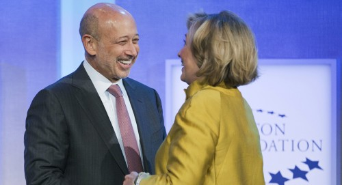 Hillary greet Goldman Sachs CEO, Lloyd Blankfein at the annual Clinton Foundation bash