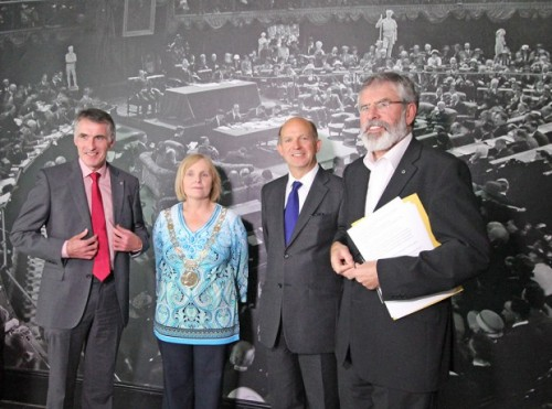 Declan Kearney (extreme left) and Gerry Adams (extreme right) pose with the British ambassador in Dublin Dominick Chilcott