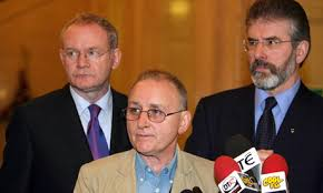 Flanked by Martin McGuinness and Gerry Adams, Denis Donaldson admits to having been an RUC informer
