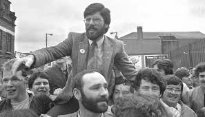 Gerry Adams is carried shoulder high by jubilant supporters after the Sinn Fein leader won the West Belfast seat in the June 1983 Westminster general election.