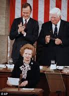 'Tip' O'Neill and then VP Goerge H W Bish host Margaret Thatcher at the US Congress