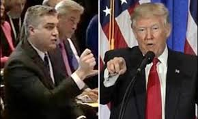 Trump's first press conference as President was characterised by his refusal to take a question from CNN's Jim Acosta (left)