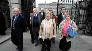 The Ludlow family leave the Dail after attending a hearing of the joint Oireachtas committee probing the death of Seamus Ludlow