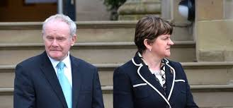 Arlene Foster and her former colleague in the power-sharing government, Martin McGuinness